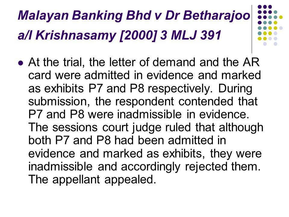 Malayan Banking Bhd v Dr Betharajoo a/l Krishnasamy [2000] 3 MLJ 391
